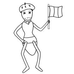 Emse mit Baskenmütze und Fahne in der Hand