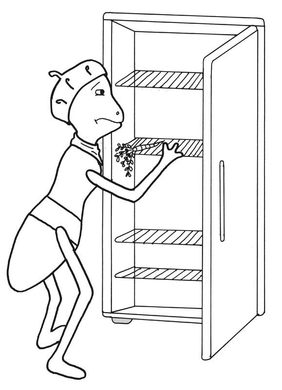 Emse vor leerem Kühlschrank