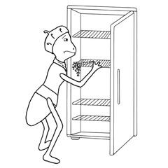 Emse vor einem leeren Kühlschrank